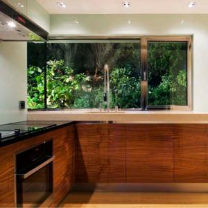 stainless steel window to kitchen