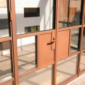 corten framed doors with slim frame