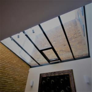 steel framed glass roof with integrated vent