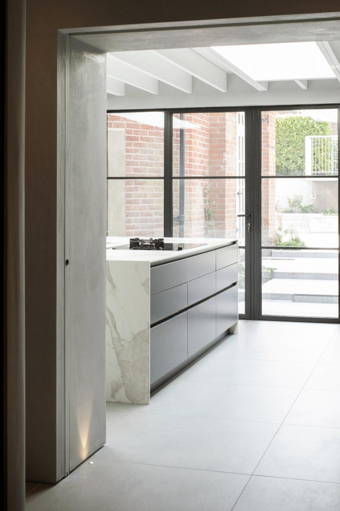 Modern kitchen with steel patio doors